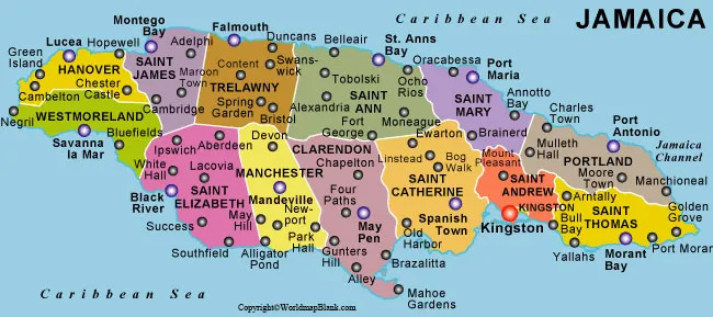 Labeled Map of Jamaica