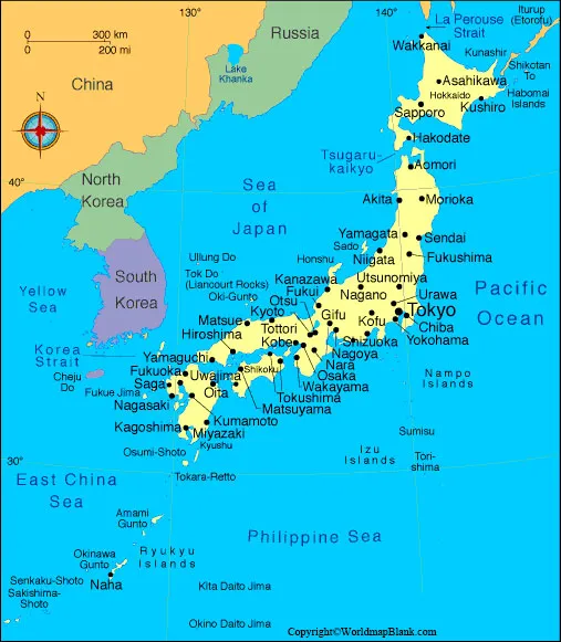 Labeled Map of Japan
