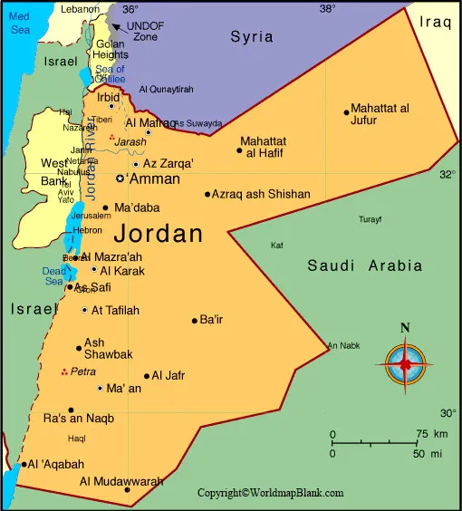 Labeled Map of Jordan with States
