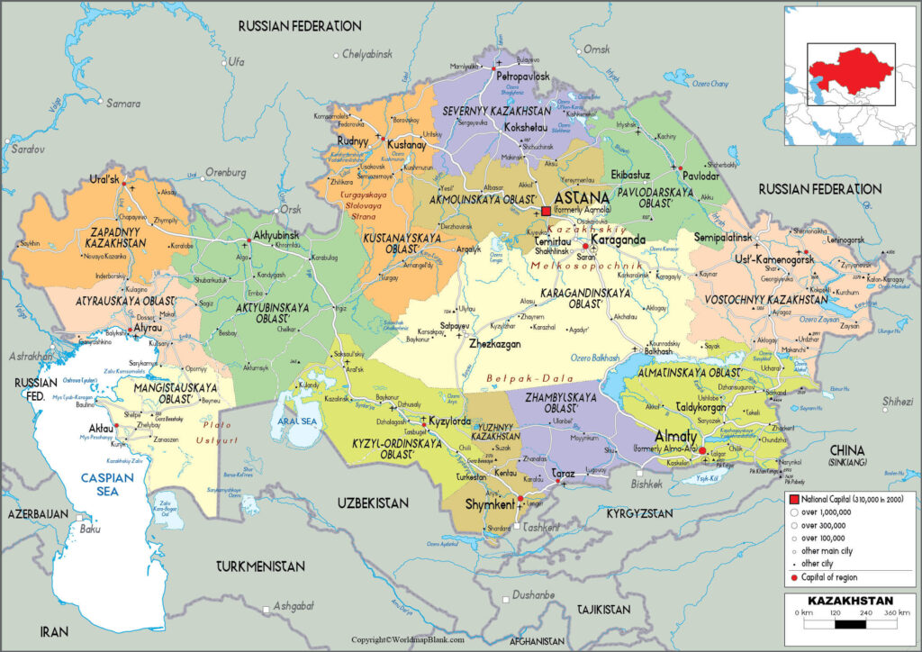 Picture of: Kazakhstan Labeled Map World Map Blank And Printable