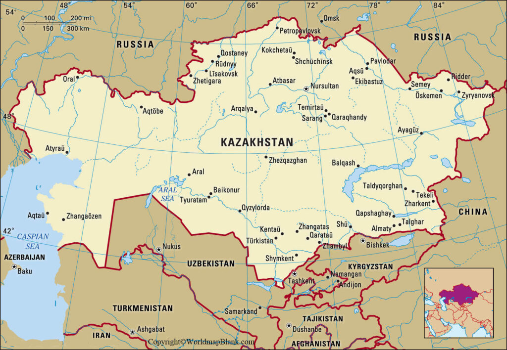 Labeled Kazakhstan Map with Cities
