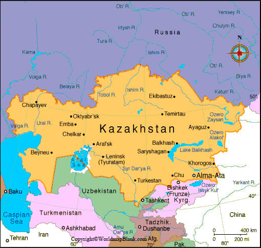 Labeled Map of Kazakhstan with States