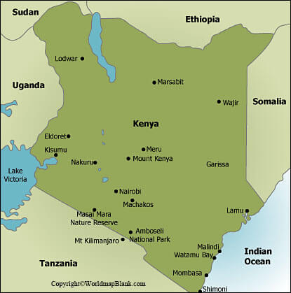 Labeled Map of Kenya with Cities