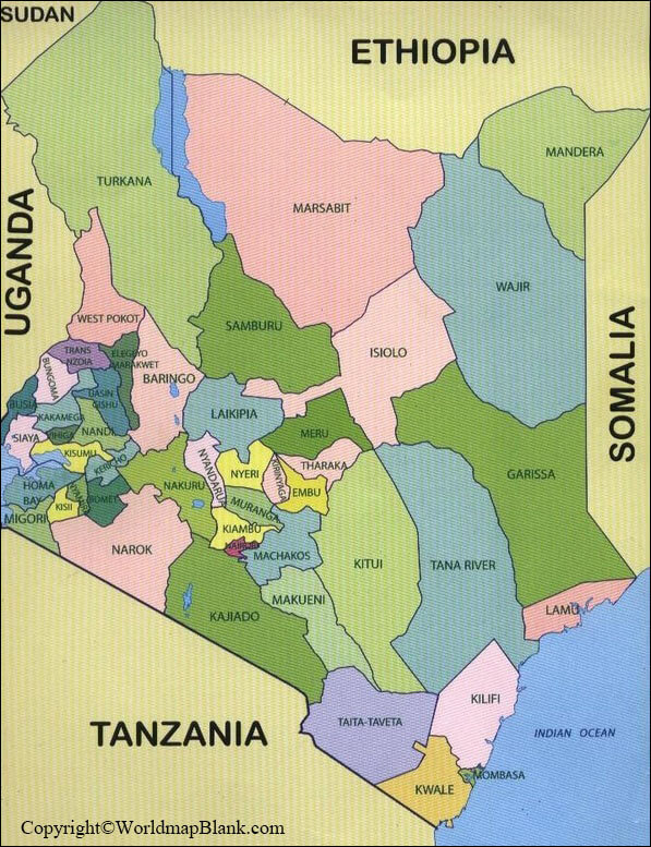 Labeled Map of Kenya with States