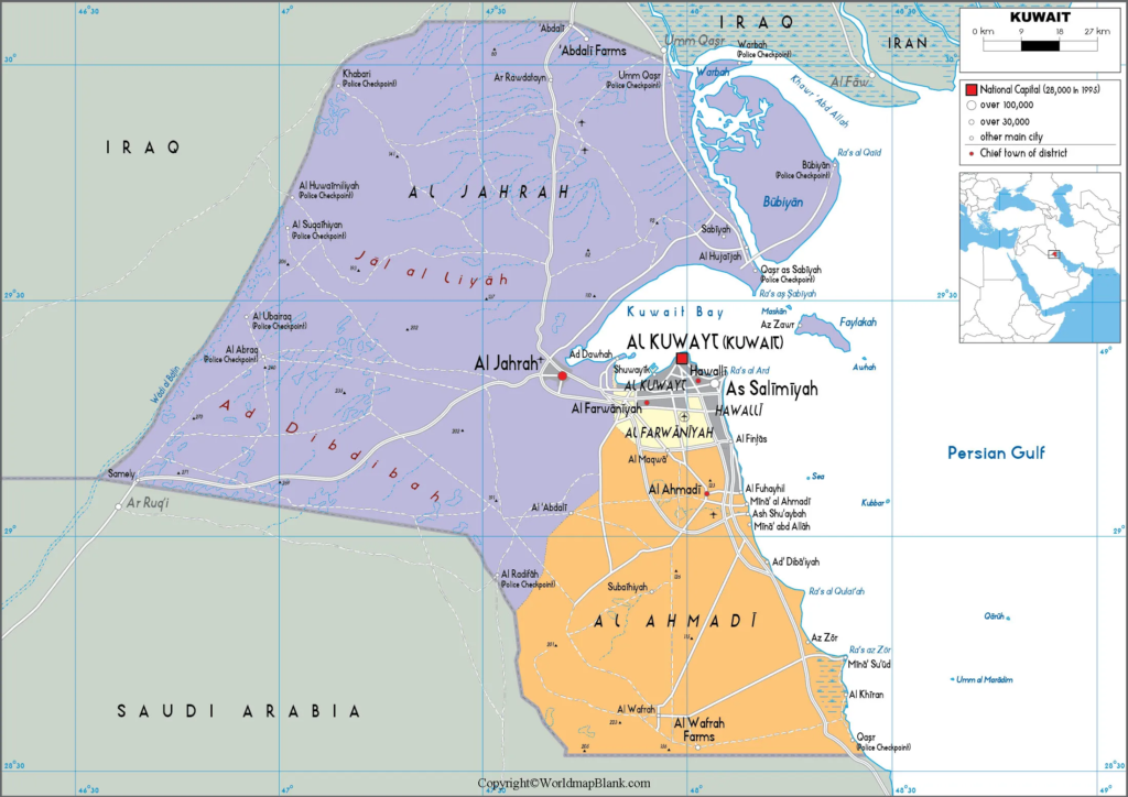 Labeled Map of Kuwait