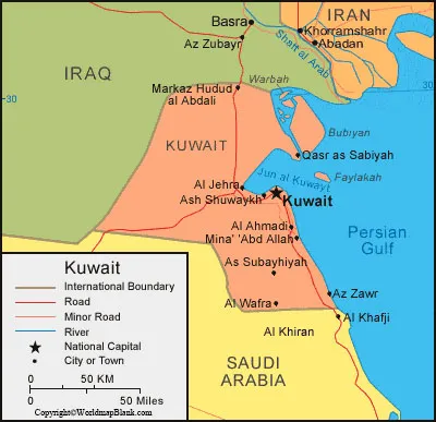 Labeled Map of Kuwait with Cities