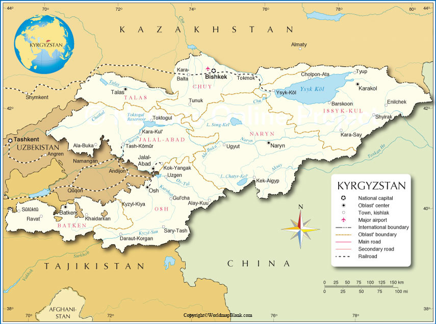 Labeled Map of Kyrgyzstan with States