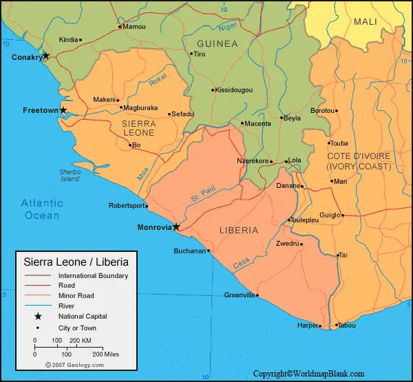 Labeled Liberia Map with Cities
