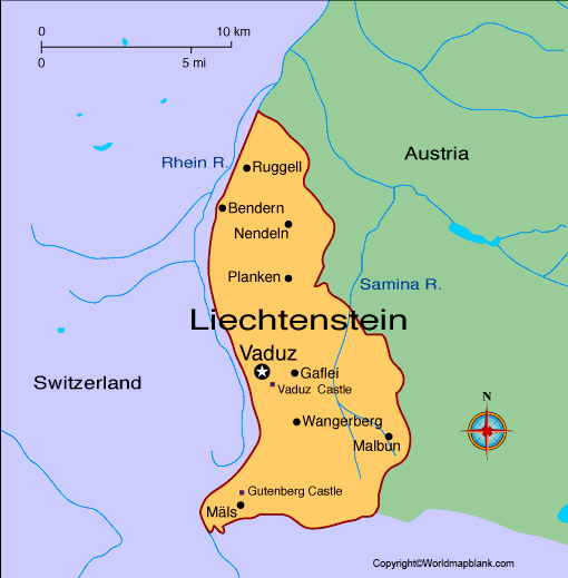 Labeled Liechtenstein Map with Capital