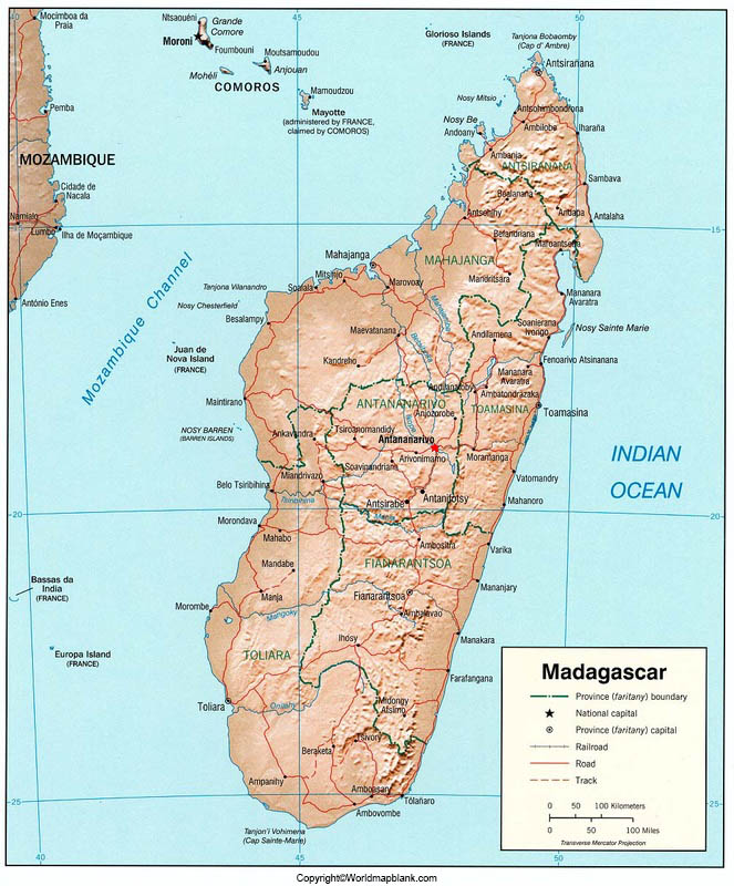 Labeled Madagascar Map with Capital