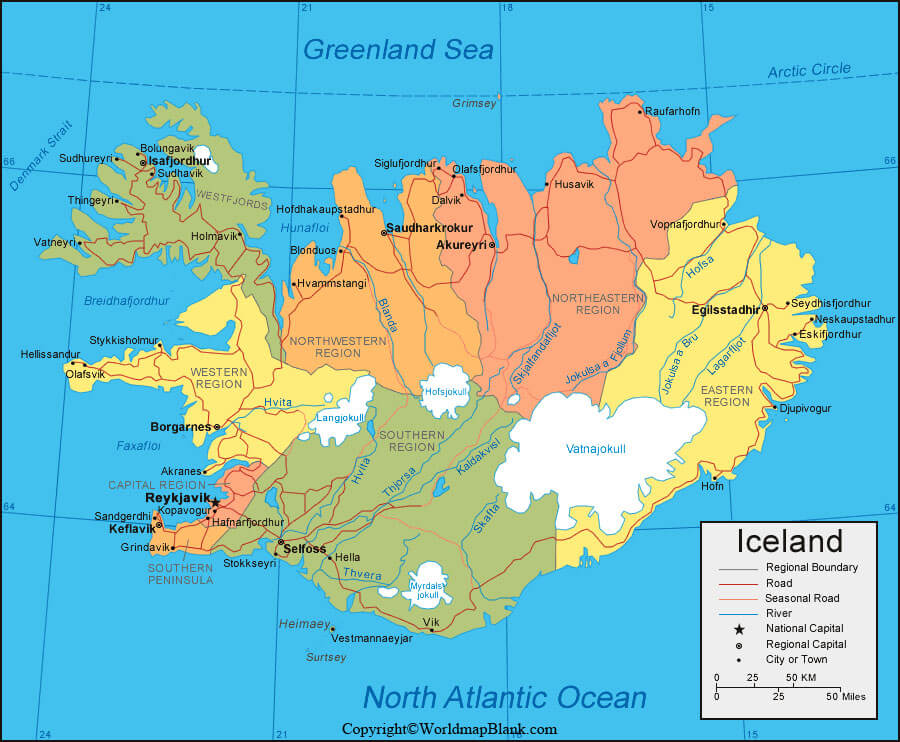 Labeled Iceland Map with Capital
