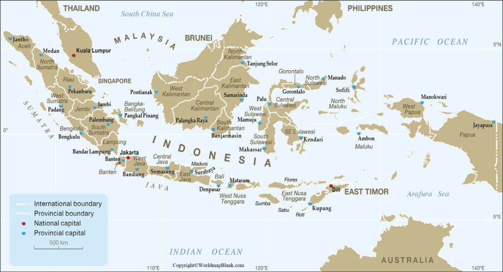 Labeled Indonesia Map World Map Blank And Printable