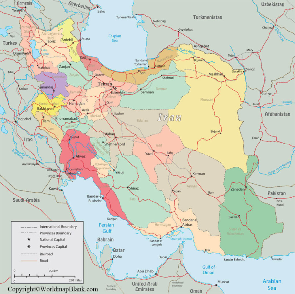 Labeled Iran Map with Capital