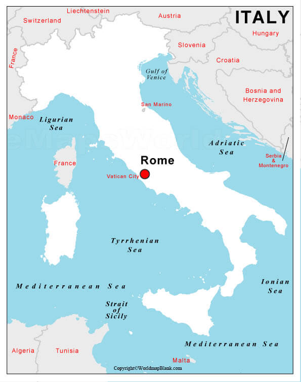 Labeled Italy Map with Capital
