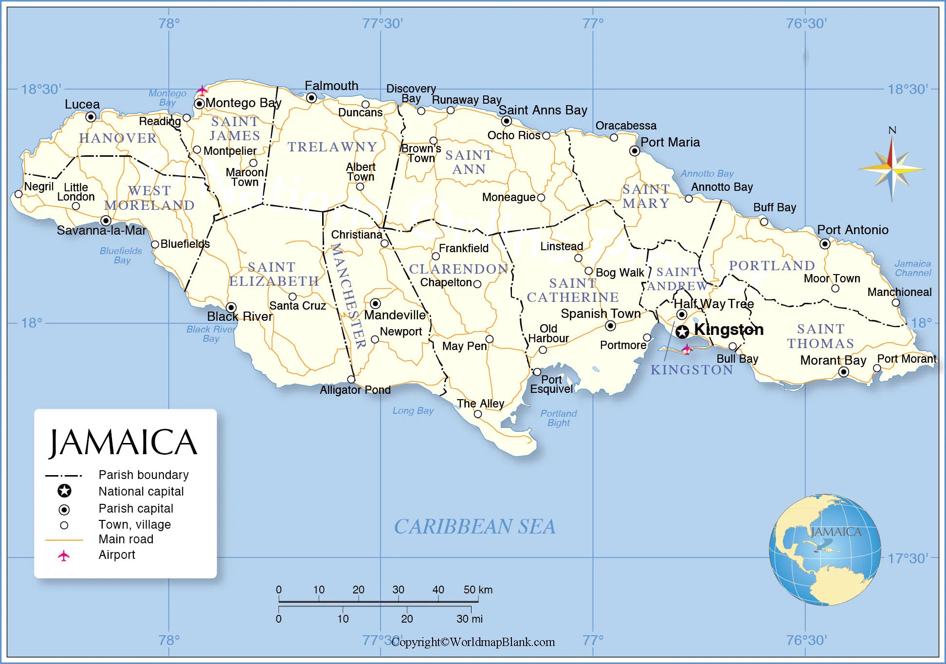 Labeled Jamaica with Capital