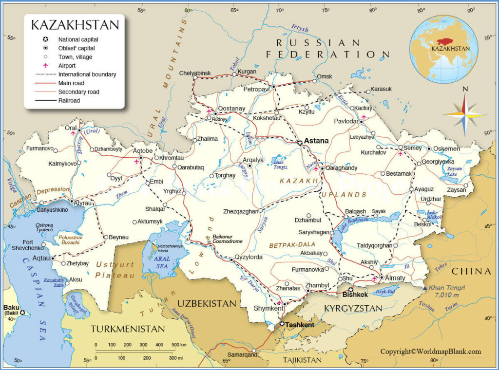 Labeled Kazakhstan Map with Capital