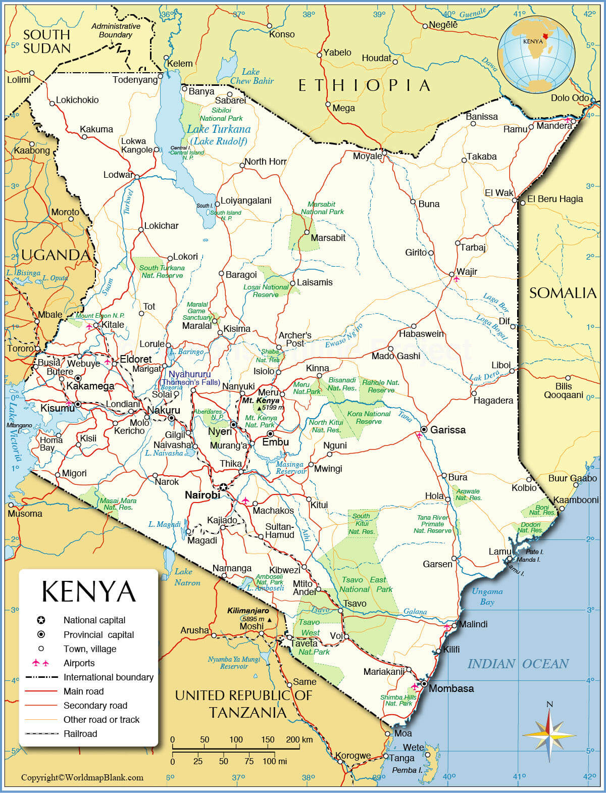 Labeled Kenya Map with Capital