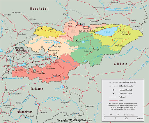 Labeled Kyrgyzstan Map with Capital