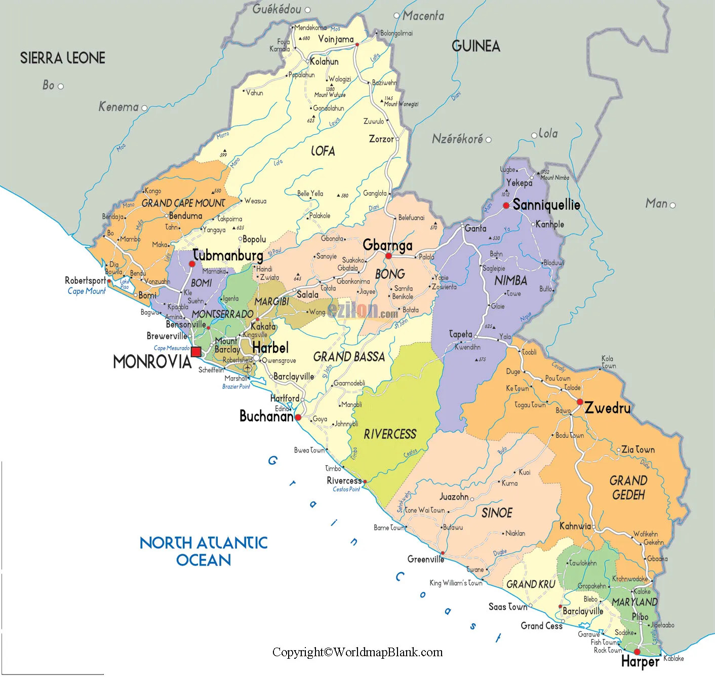 Labeled Liberia with Capital