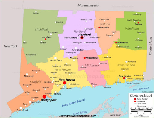 Labeled Map of Connecticut Printable
