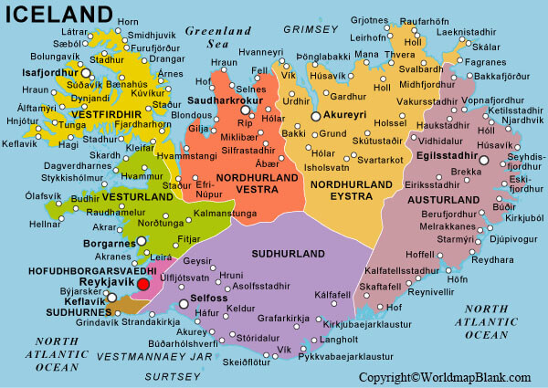 Labeled Map of Iceland