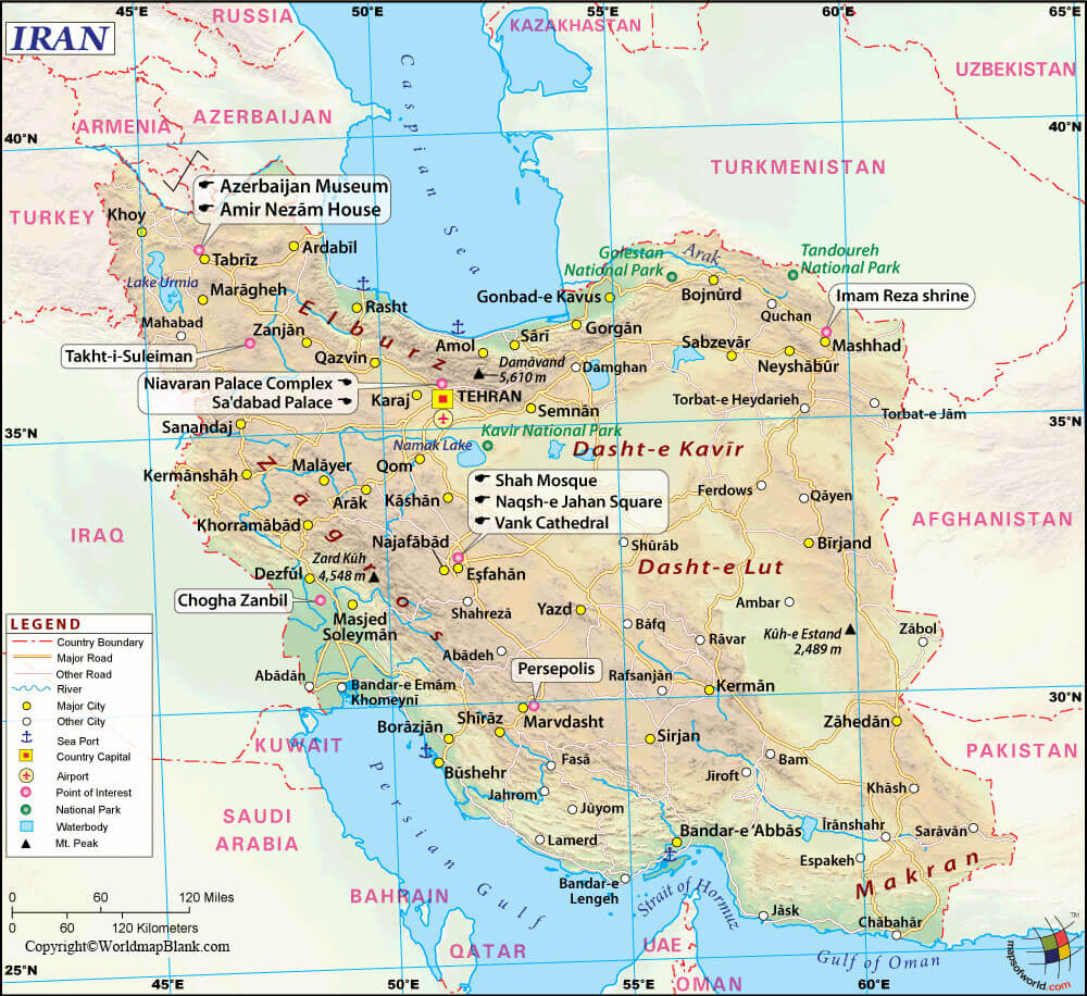 Labeled Iran Map with Cities