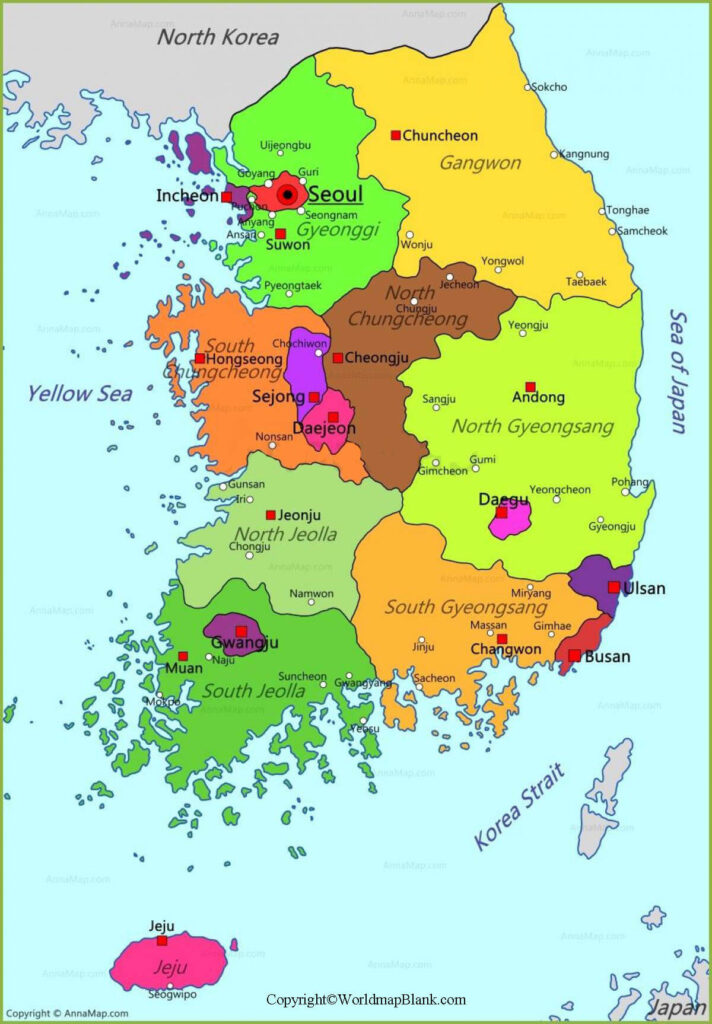 Labeled Korea Map with States