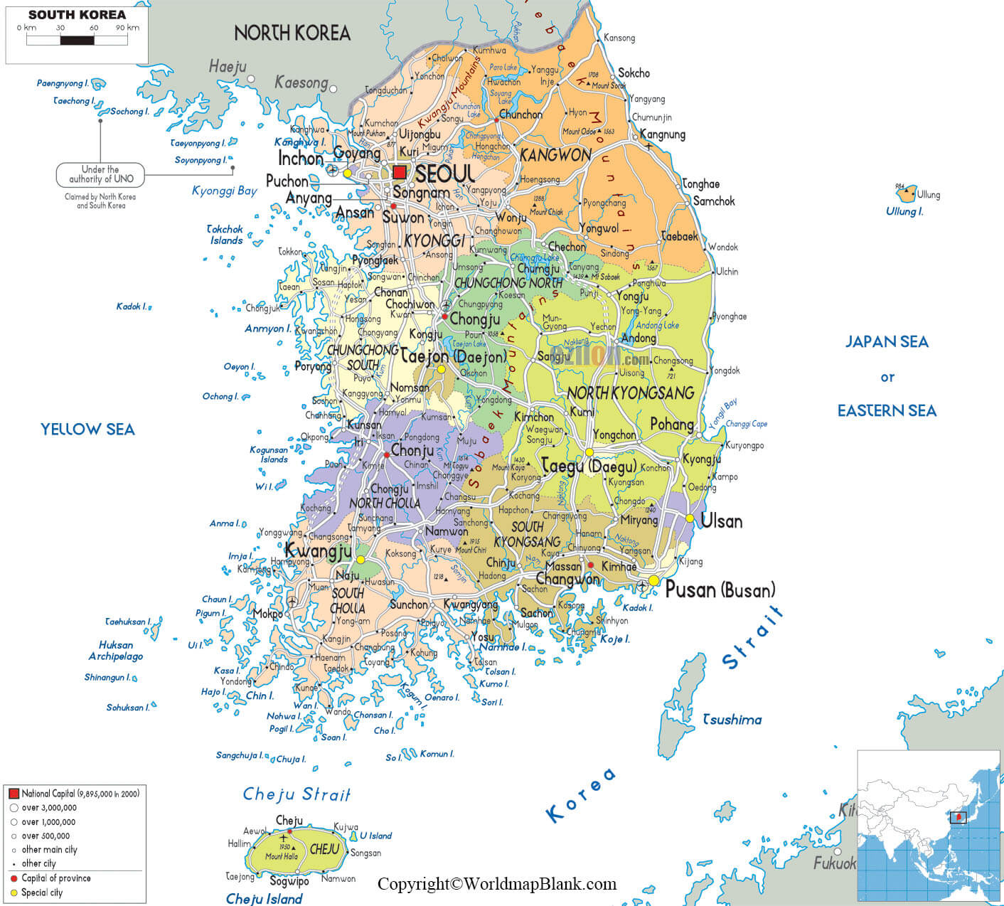 Labeled Map of Korea