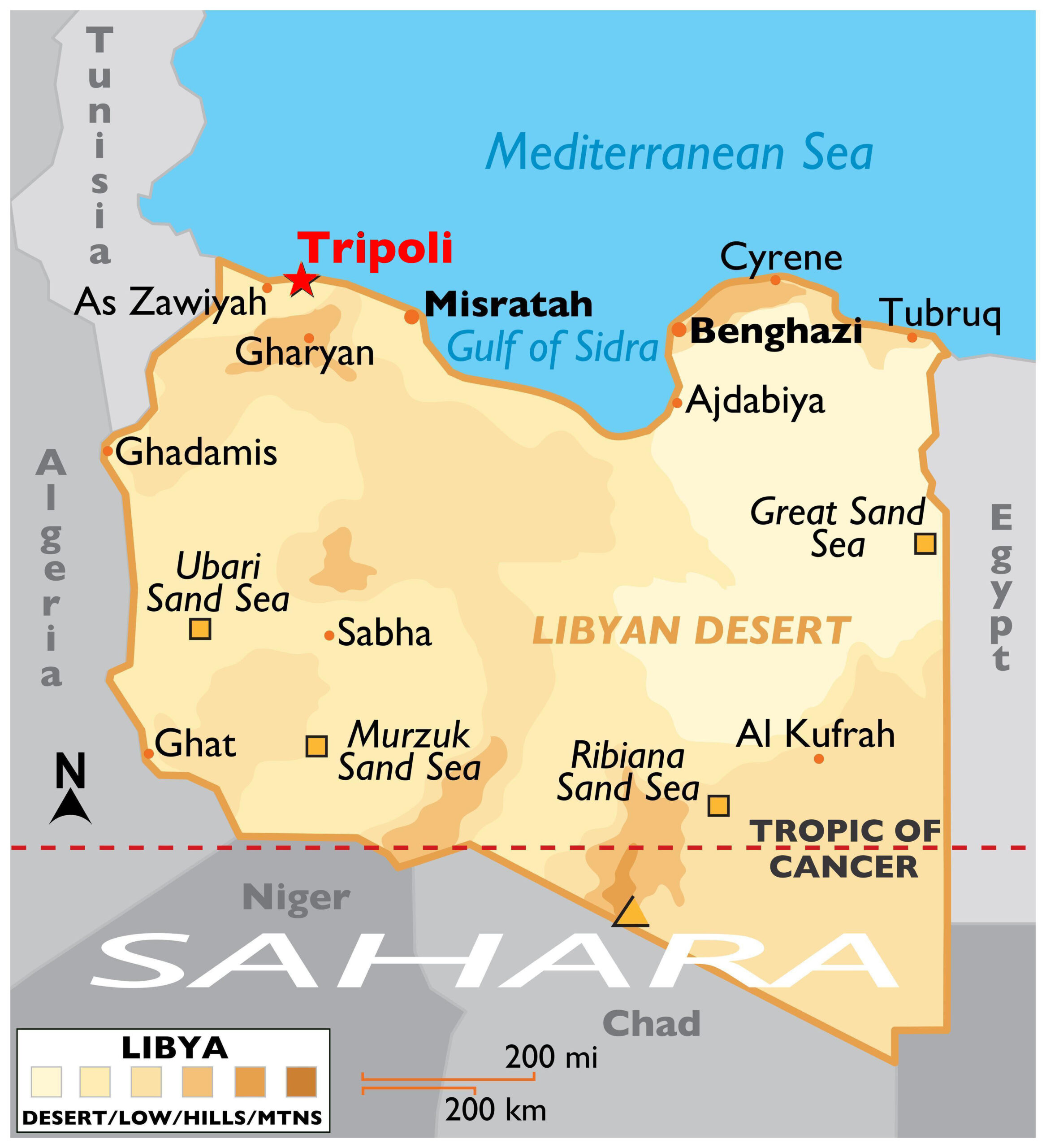 Labeled Libya Map with Capital