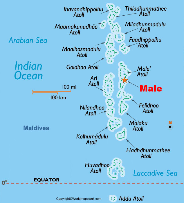 Labeled Maldives Map with Capital