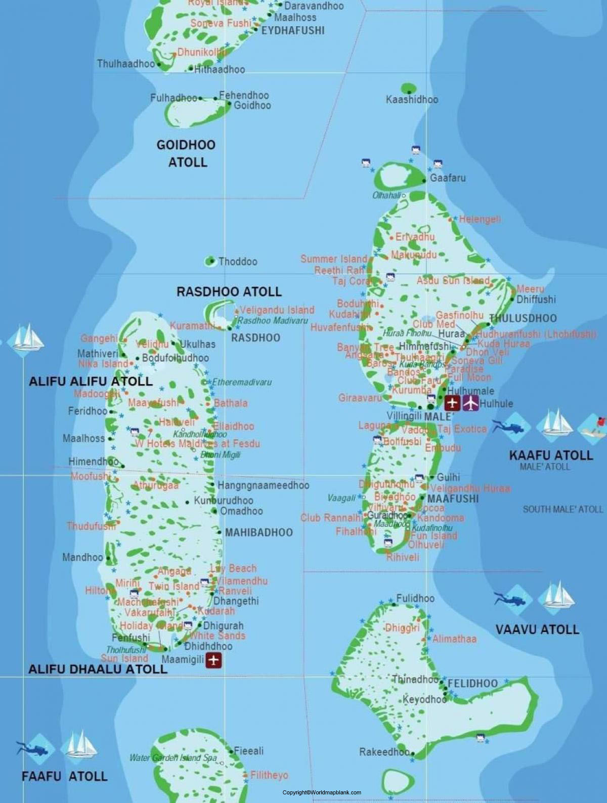 Labeled Map of Maldives with Cities