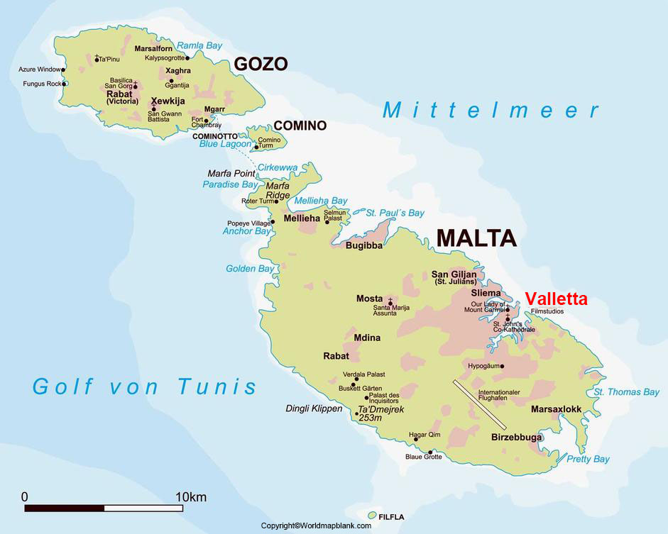 Labeled Malta Map with Capital