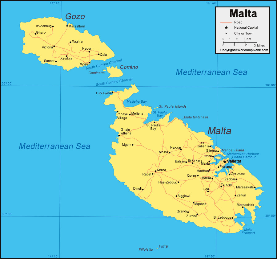 Labeled Map of Malta with Cities