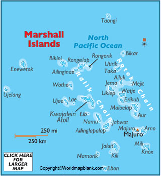 Labeled Map of Marshall Islands with Cities