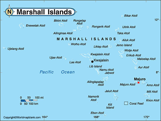 Labeled Map of Marshall Islands