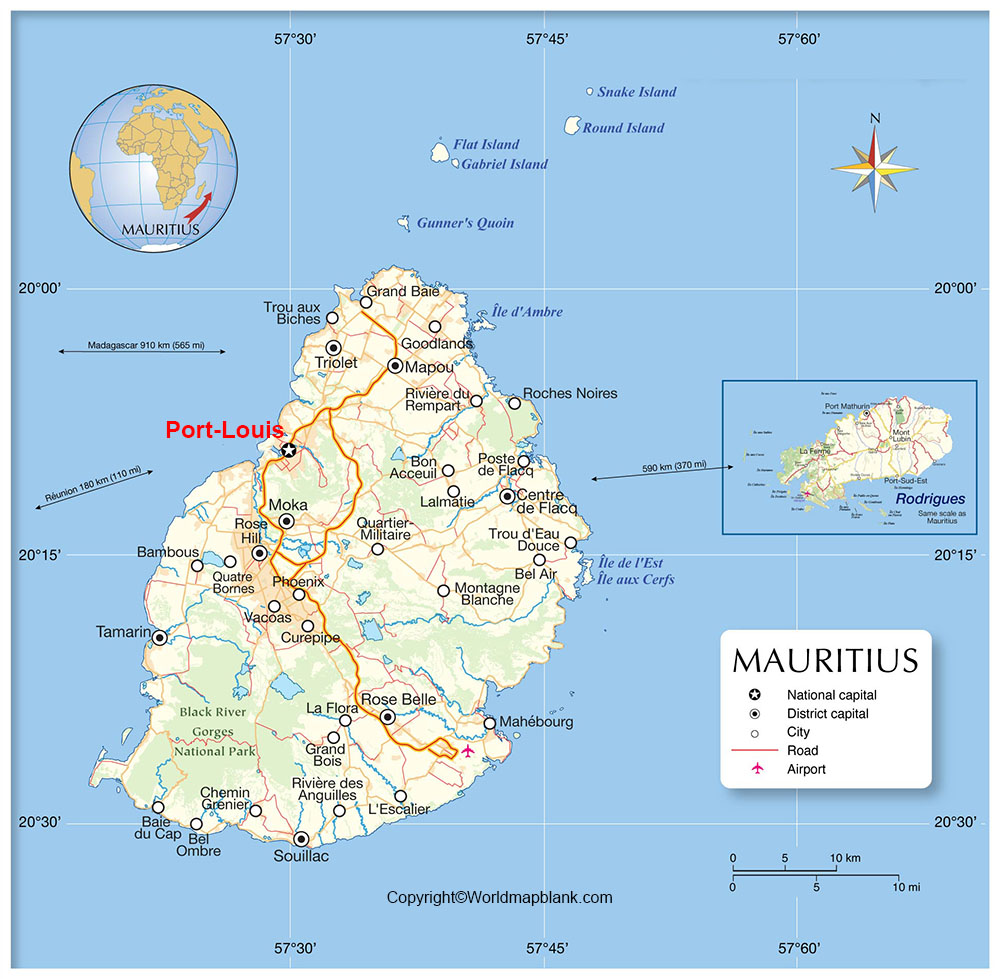 Labeled Mauritius Map with Capital