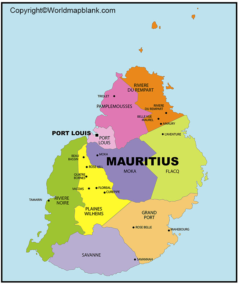 Labeled Map of Mauritius with Cities