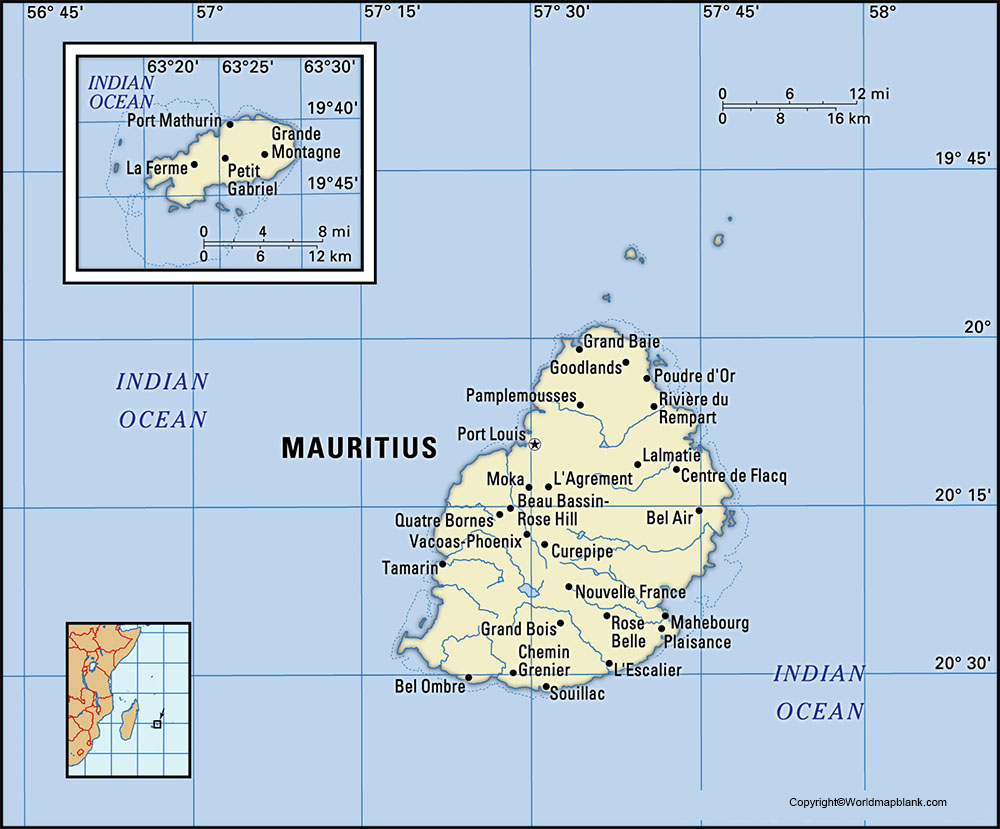 Labeled Map of Mauritius with State