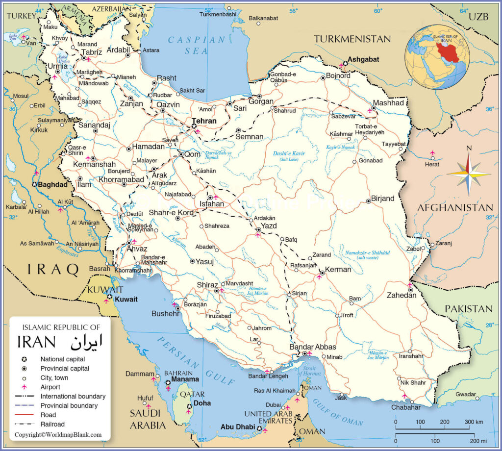 Labeled Map of Iran