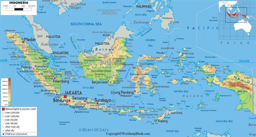 Labeled Map of Indonesia