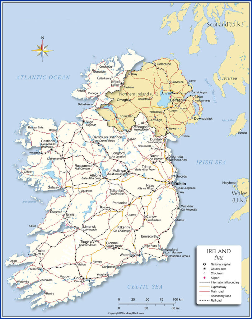 Labeled Map of Ireland