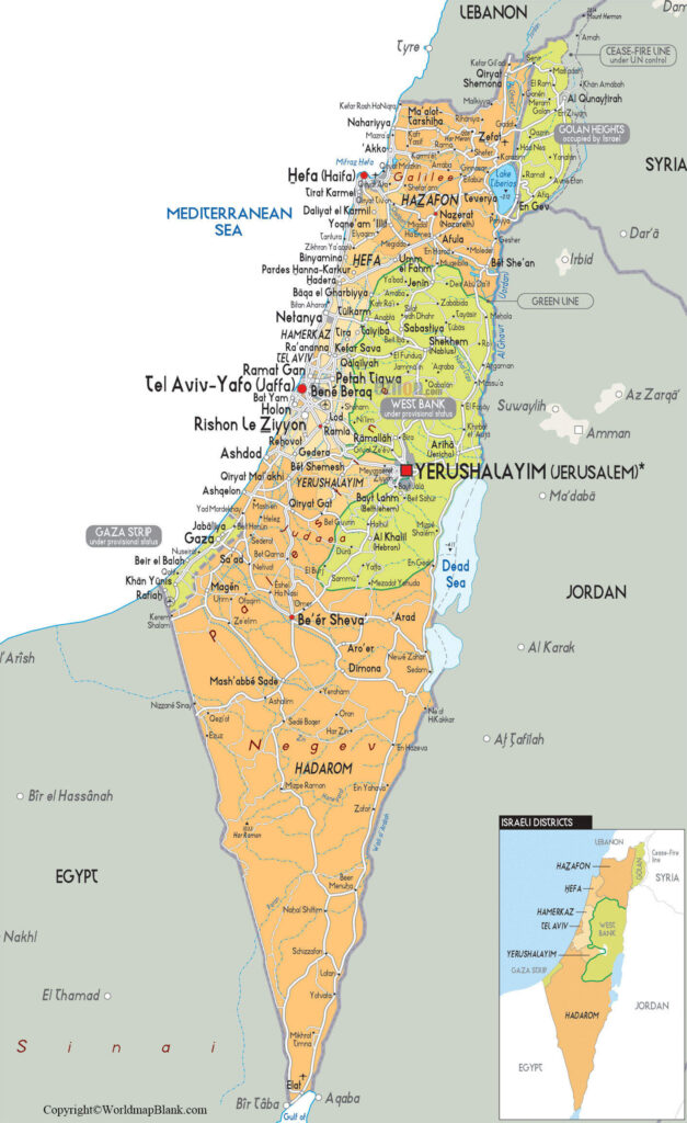 Labeled Map of Israel
