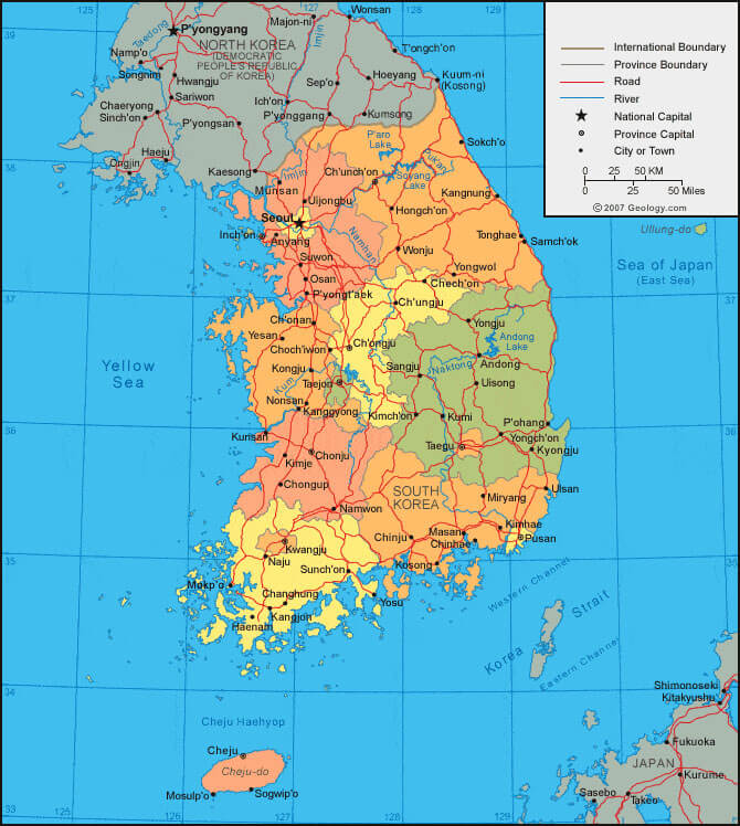 Labeled Map of Korea with Cities