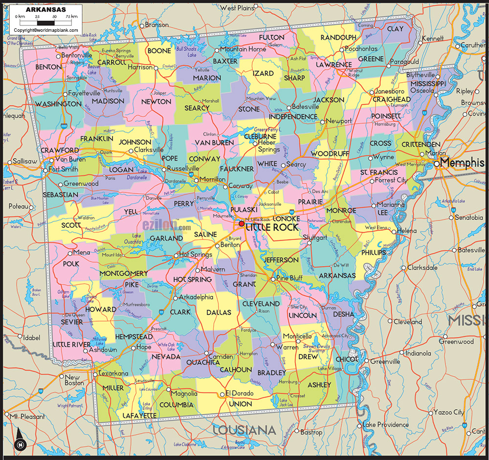 Labeled Map of Arkansas