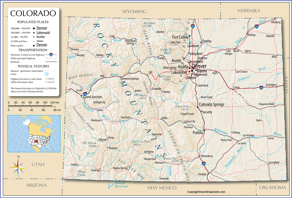 Labeled Map of Colorado Printable