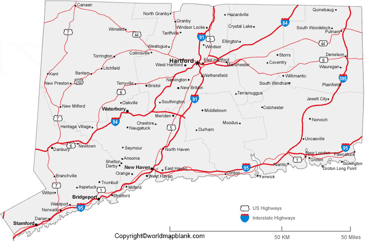 Labeled Map of Connecticut with Cities
