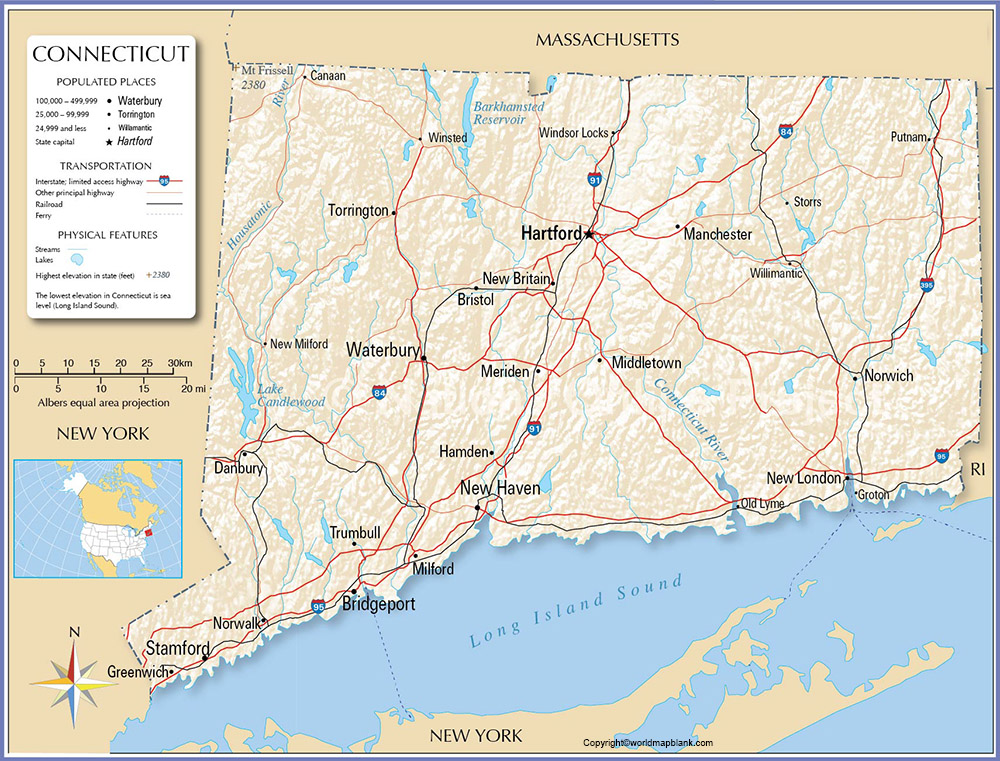 Labeled Map of Connecticut