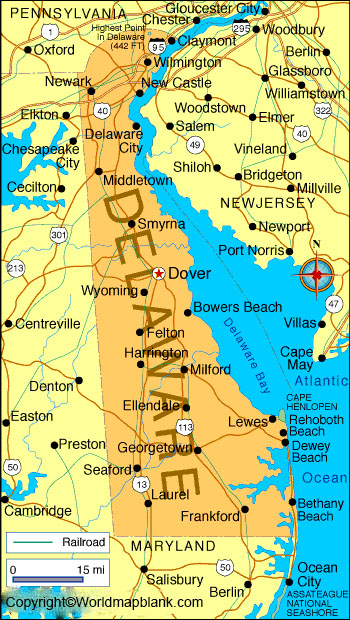 Labeled Map of Delaware Printable