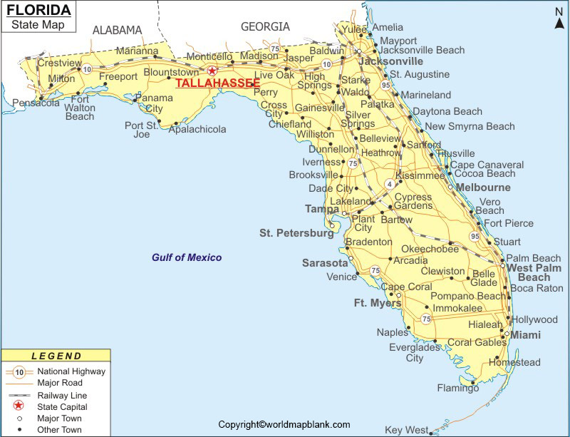 Labeled Florida Map with Capital
