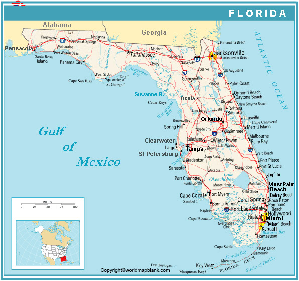 Labeled Florida Map with Cities